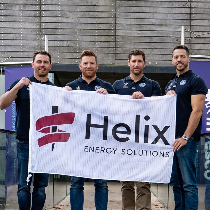 The Bubbleheads team with Helix flag